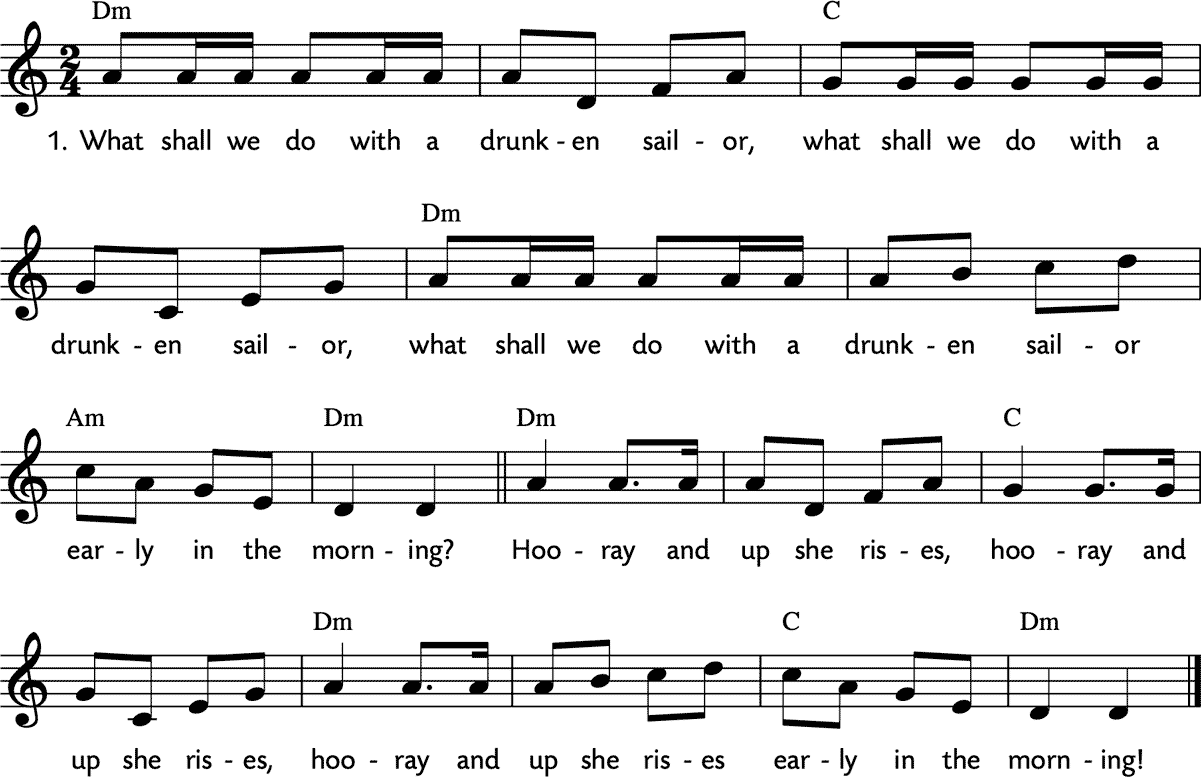 Noten 'What shall we do with a drunken sailor'