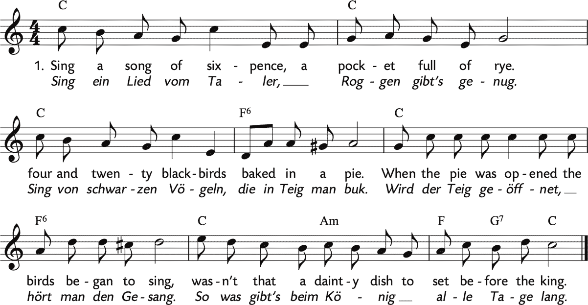 Noten 'Sing a song of sixpence / Sing ein Lied vom Taler'